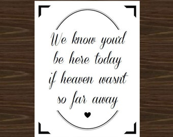 Wedding Decor, Wedding Print, Reception Poster, Wedding Decor for those in Heaven
