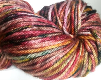 EVENING By The FIRE, Indie Hand Dyed Yarn,Hand Dyed Multi Color Yarn,Hand Dyed Yarn,Variegated Hand Dyed Yarn, Burgundy Gold Yarn