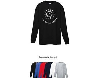 You are my sunshine shirt, longsleeve shirt, positive shirt, cute shirt, happy shirt, kids shirt, sun shirt, sunshine shirt, hearts shirt