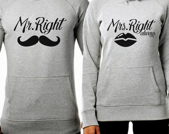 Mr Right Mrs Always Right Matching Couple Hoodies Set - FAST DISPATCH! Matching Couple Set Matching Mr Right Mrs Always Right sweaters