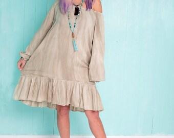 Beige loose knee length dress with long sleeves - Plus size beige dress - Boho chic oversize dress