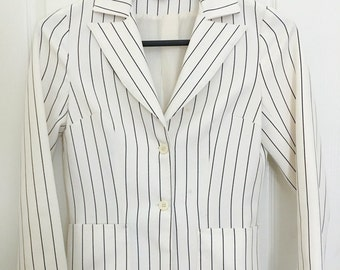 70's Polyester white with navy pinstripe ladies polyester blazer