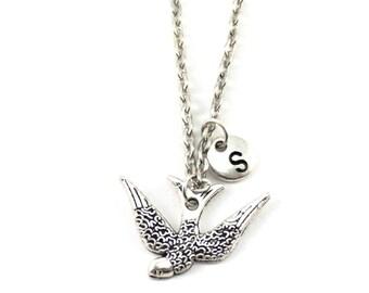 SWALLOW charm necklace, swallow jewelry, personalized charm necklace, initial necklace, personalized jewel, initial jewelry, personalized