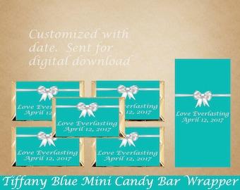 Tiffany Blue Mini Candy Bar Wrapper, Wedding Mini Candy Bar Wrappers, Mini Candy Bar Wrappers, Bridal Shower Printable, Wedding