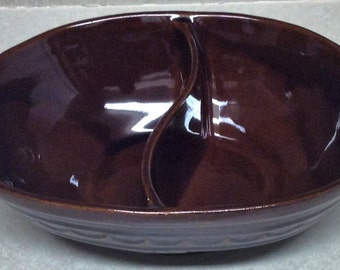 Vintage Marcrest Stoneware Oven Proof Dark Brown Daisy Dot Pattern Oval Divided Serving Bowl