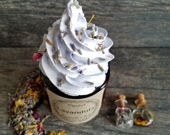 LAVANDULA Body Frosting | Lavender Essential Oil | Pink Himalayan Salt | Indigo Healing Clay | Stress Relief | Vegan |  Handmade | Whipped