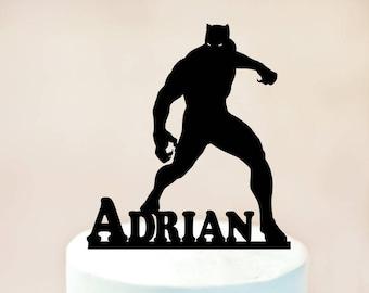 Black Panther Cake Topper,Black Panther Birthday cake topper,Black Panther Party,Black Panther decoration,Super Hero Cake Topper (1110)