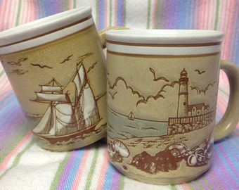 Vintage Ceramic Embossed Nautical Seashore Mugs