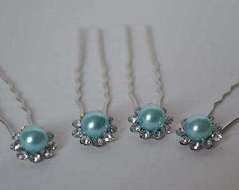 Wedding Bridal Hair Pins Aqua Blue Pearl Flower Shape with Crystal Rhinestones Set of 4 Elegant Hair Pins, Proms, Weddings,
