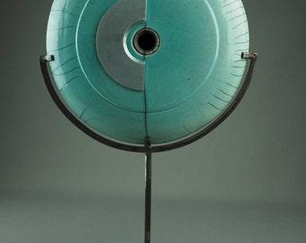 Turquoise raku disc sculpture