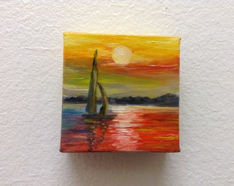Mini Abstract Art,Oil painting, Original Art, Landscape, Gift , Wall hanging.