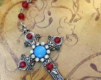 Silver Victorian Cross Necklace