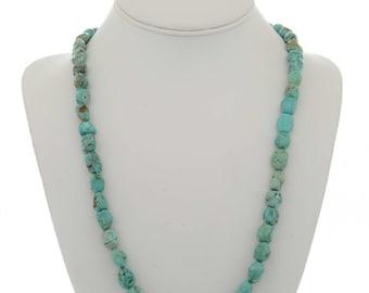 Turquoise Nugget Necklace Genuine Navajo Single Strand Genuine