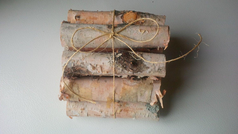 12 miniature firewood logs birch holiday decor christmas wedding