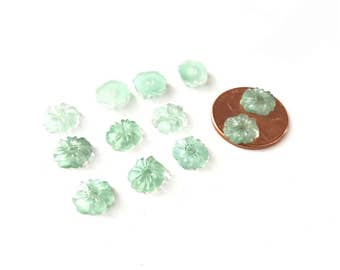 Vintage Sweet Tiny Mint Green Glass Flower Cabochons with Center Hole 8/9mm (18)