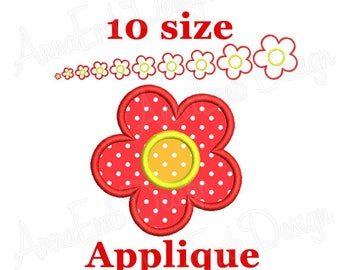 Flower applique embroidery design. Daisy applique design. Machine embroidery.  Baby applique design. Girl applique design. Summer applique.