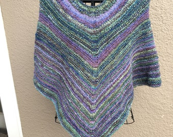 Hand knit out of Handspun yarn- Poncho in greens, blues and purples
