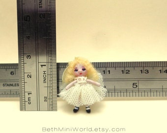 Dollhouse Toy Miniature- 1:12 scale- Tiny blonde toy doll- Hand Sculpted- OOAK-Ready to Ship