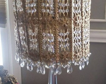 Antique French Ormolu brass crystal Chandelier Lamp