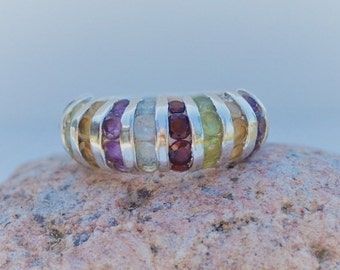 Multi-Gemstone Ring, Size 7 Ring, Sterling Silver, Birthstone Ring, Mother's Ring, Grandmother's Ring, SweetVintageTX