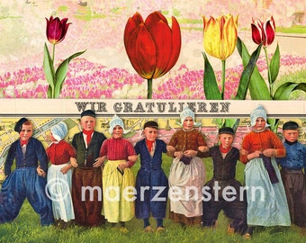 """Birthday card """"Tulips from Amsterdam"""" (13), we congratulate, Dutch children in wooden shoes and dress with tulips, flowers"""
