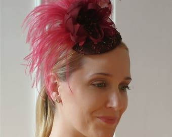 Fascinator, Races Headpiece, Ball Fascinator, Floral Feathered Fascinator, Sparkle Ostrich Feathered Hair Accessory - Vivien