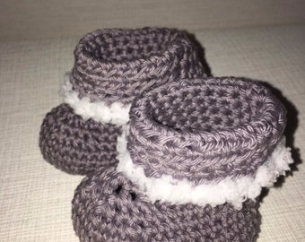 Crocheted baby booties, Baby shoes, Winter baby shoes