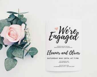 Engagement Invite, Engagement Card, Printable Engagement Party Invitation, Engagement Party Invitation Template, Engagement Party Invite