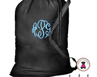 Monogrammed Large Cottton Laundry Bag - Black - FREE SHIP