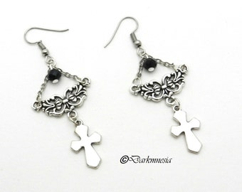 Earrings, silver, cross, faceted beads, black, crystal, silver connector, goth, gothic, victorian, renaissance