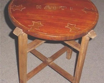 Circa 1950 Vintage Round Wooden Folding Table From Haiti