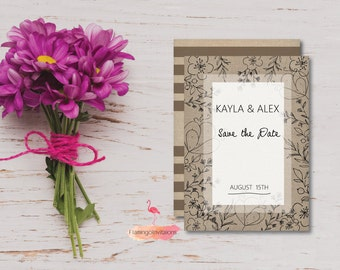 Save The Date, Canvas textured Invite, Floral Save The Date