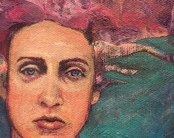 "She - 4"" x 4"" Original Acrylic Painting by Christa Smith, Joy of Paint, tiny art"