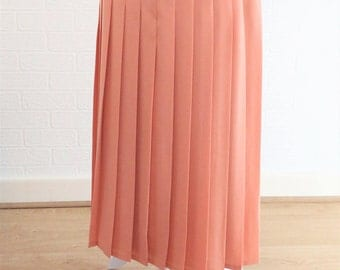 Windsmoor Coral Peach Pleated Maxi Length Skirt with Internal Slip / Side Zip/ Size 16/Retro Skirt /Vintage Skirt /1980s