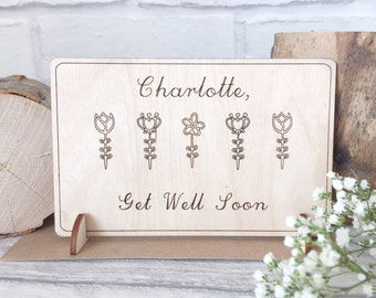 Get Well Soon Card - Personalised Card - Thinking Of You - Personalised Get Well Card - Floral Card - Get Well Soon Gift - Feel Better