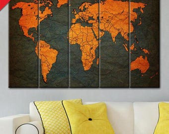 Multi Panel, World Map, Anniversary Gift, Map Art, World Map Canvas, Canvas World Map, World Map Gift, Wall decoration, map canvas art wall