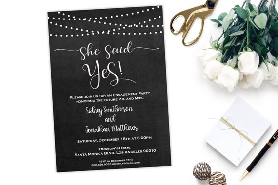 Engagement Party Invitation - Engagement Invite  - Engaged Announcement - Wedding Template - She Said Yes - Downloadable Wedding  #WDH0205