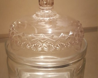 Vintage Glass Dish with Decorative Lid w/ final and cut glass detailing