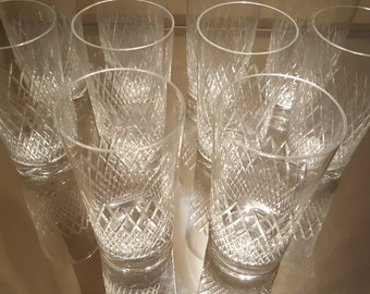 Set of Six (6) Intricate Diamond Cut Crystal Tumblers
