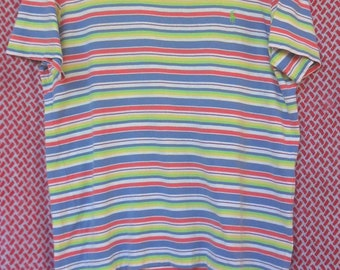 Vintage Striped Polo by Ralph Lauren T-Shirt//Colourful Striped//American Designer//Size L//Made in Peru