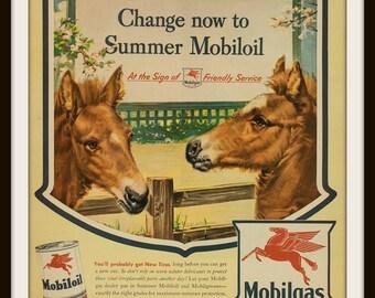 1943 Mobiloil Advertisement. Vintage Motor Oil ad. Vintage Mobilgas ad. Vintage Mobiloil ad. Summer Mobiloil.