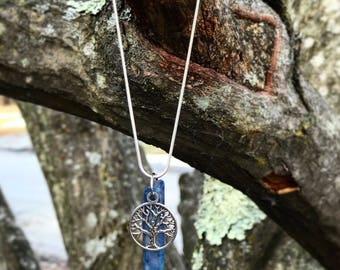 "Aqua Aura Tree of Life Necklace on 20"" Sterling Silver Plated Chain. Hippie, Pagan, Crystal Healing, Handmade, Witch."