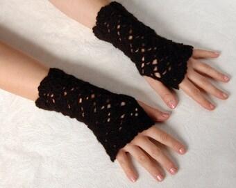 Fingerless Gloves Crochet Mittens Autumn Gloves Black Mittens Wrist Warmers Arm Warmers Black Gloves Short Mittens Short Gloves