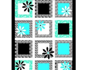 Baby Girl Black & Blue Daisy Quilt: Crib Sized