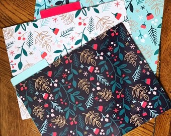 Set of six floral file folders // Preppy flower themed folders with labels //  Teal, white, and black folders with contrasting interiors