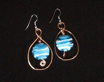 Copper Wire Wrapped Earring