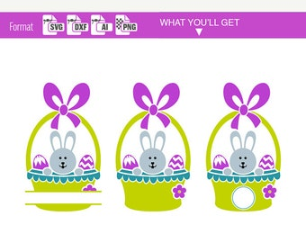 EASTER BASKET svg files with cute Rabbit and EGG svg circle Border split monogram svg bunny clipart for cricut ai dxf Silhouette diy 162