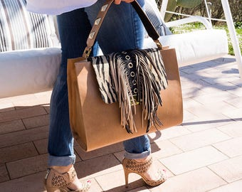 Hand bag fringe handbag-customizable handcrafted leather women's handbag-women's handmade leather handbag
