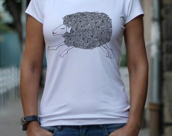 Т-shirt, Stylized Drawing Sheep, Designer T-shirt, Women's T-shirt, Funny T shirt, Drawing, Print Top by CaramelTShirt
