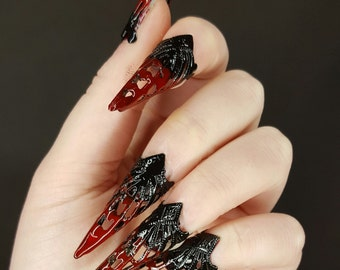 KlauenSet steal claws photo shoots from black, red, frills, plug-on nails, nails, nails set